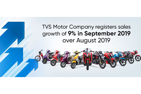 TVS Motor Company registers sales growth of 9% in September 2019 over August 2019